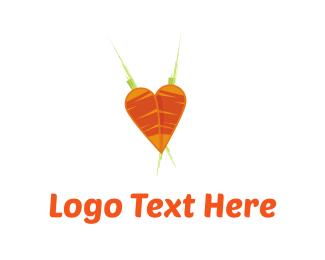 Vegetable - Carrots Heart logo design