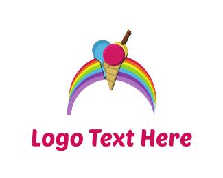 Frozen - Rainbow Ice Cream logo design