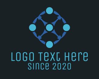 Molecule - Blue Circles logo design