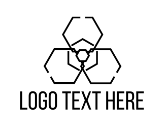 Dangerous - Radiation Hexagon logo design