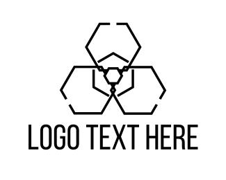 Virus - Radiation Hexagon logo design