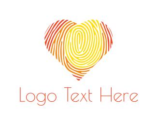 Identification - Fingerprint Heart logo design