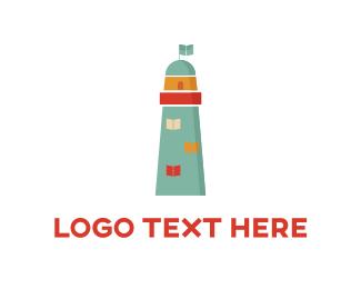 Flag - Blue Lighthouse  logo design