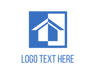 Home - White & Blue House logo design