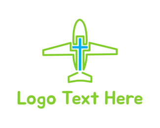 Aero - Airplane Cross logo design