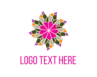 Kaleidoscope - Flower & Crystals logo design