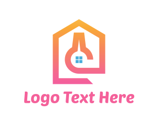 Scientific - Pink Lab House logo design