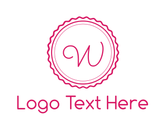 Hairdresser - Pink W Stamp logo design