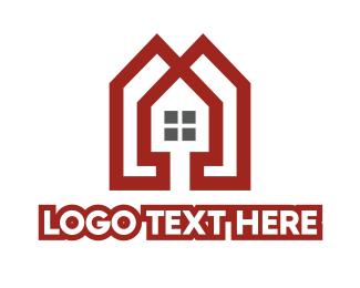 Apartment - Red Apartment  logo design