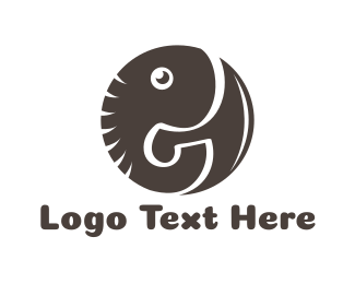 Mammoth - Round Black Elephant  logo design