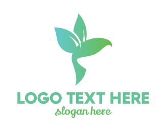 Massage Parlor - Leaf Winged Hummingbird logo design