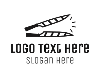Slash - Knife Clapperboard logo design