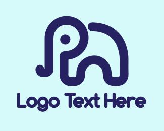 Day Care - Blue Cute Elephant logo design