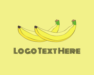 Green And Yellow - Two Bananas logo design