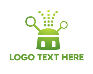 Antenna - Green Robot logo design