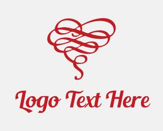 Wine Tasting - Tangled Heart Ribbon logo design