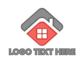 Land - Black Red House logo design