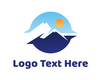 Destination - Blue Sunrise Mountain View logo design