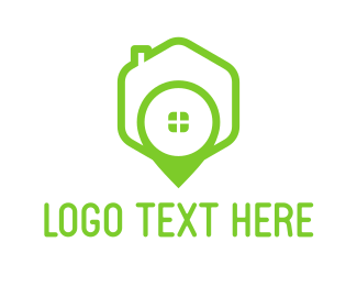 Real Estate - Green House Pin logo design