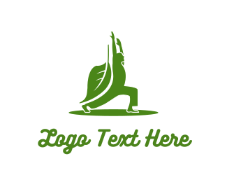 Wellness - Green Yoga Leaf logo design