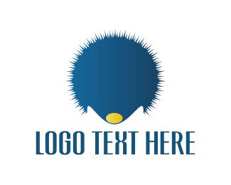 Porcupine - Blue Hedgehog logo design