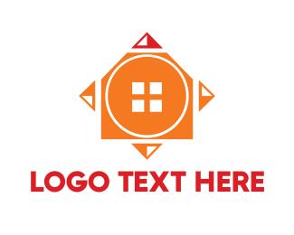 Developer - Orange Geometric House logo design