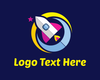 Spaceship - Colorful Rocket logo design