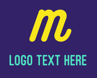 """Cursive Yellow Letter M"" by BrandCrowd"