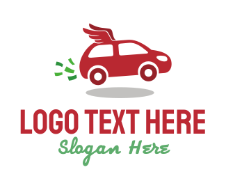 Red Car - Winged Car logo design