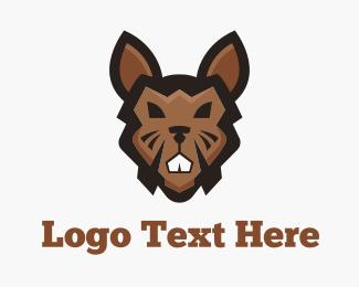 Extreme - Brown Tough Rabbit logo design