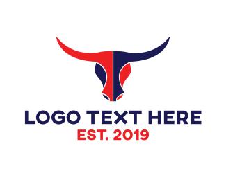 Steakhouse - Red Blue Bull Head logo design