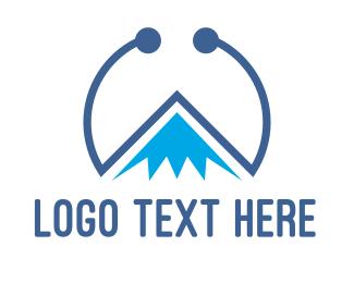 Everest - Blue Tech Mountain logo design