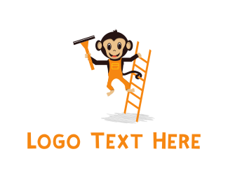 Cleaning Services - Ladder & Monkey Cartoon logo design