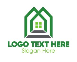 Duplex - Green Shape House logo design