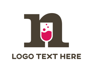Red Wine - Wine Letter N logo design
