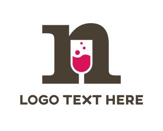 Bartender - Wine Letter N logo design