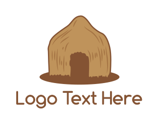 Primitive - Brown Primitive Hut logo design