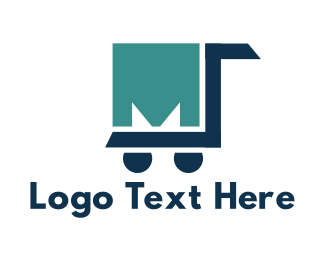 Shopping Cart - Trolley Letter M logo design