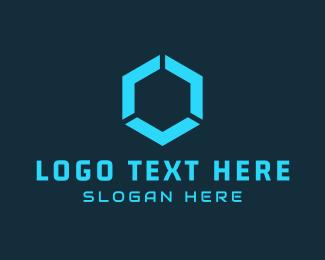 Byte - Blue Hexagon logo design