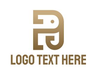 Monogram - Elephant P Monogram logo design