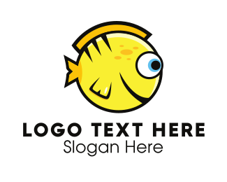Fish - Round Yellow Fish logo design