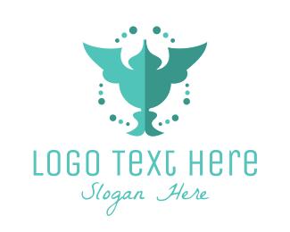 Beautiful - Green Humming Bird logo design
