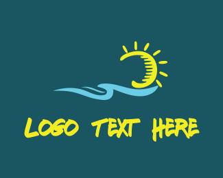 Surfing - Ocean & Sun logo design