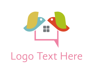 Chick - Bird Text logo design