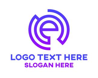 Net - Blue E Circle Stroke  logo design