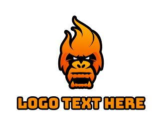 Gorilla - King Kong Fire logo design