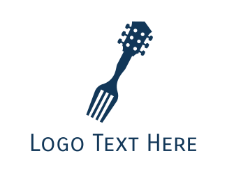 Fork - Guitar Restaurant logo design