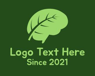 Thinking - Brain Leaf logo design