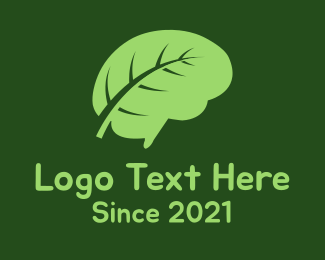 Thinking - Brain Leaf logo design