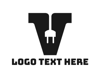 Volt - Electrical Letter V logo design